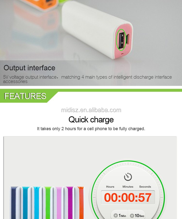 ABS power bank 2600mah, mobile power supply, portable usb battery