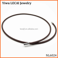 20 inch Black Leather Necklace Cord Smooth with Leather and Stainless Steel Magnetic-Clasp 2mm diameter
