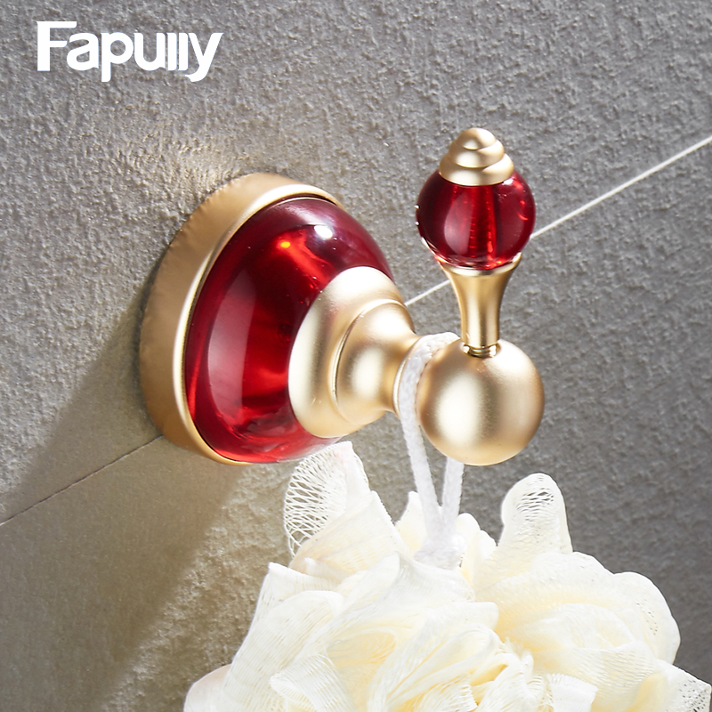 Fapully Black Bathroom accessories hanging metal robe hook wall mounted aluminum bathroom accessory robe hook