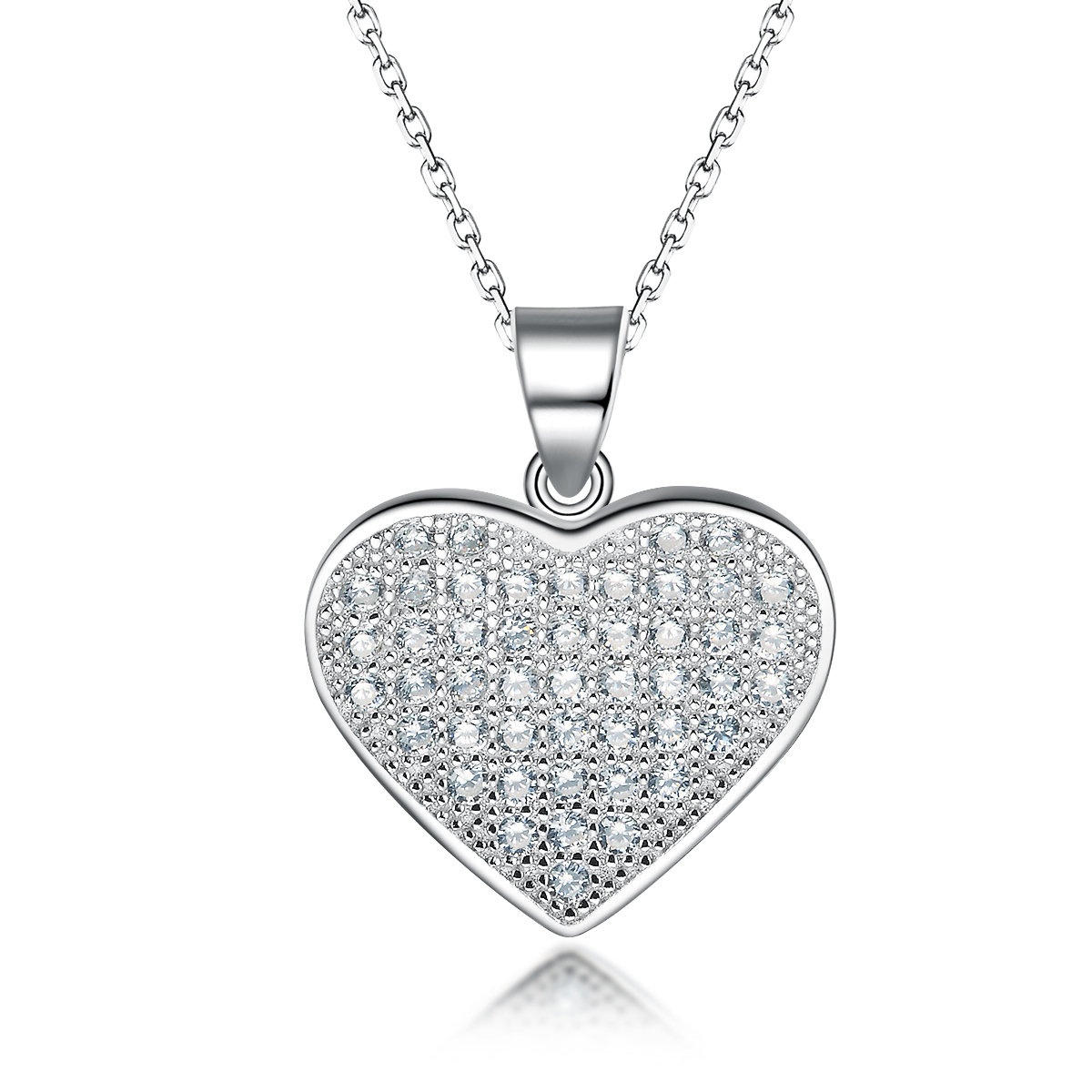 925 Sterling Silver Cubic Zirconia Full Pave Heart Pendant