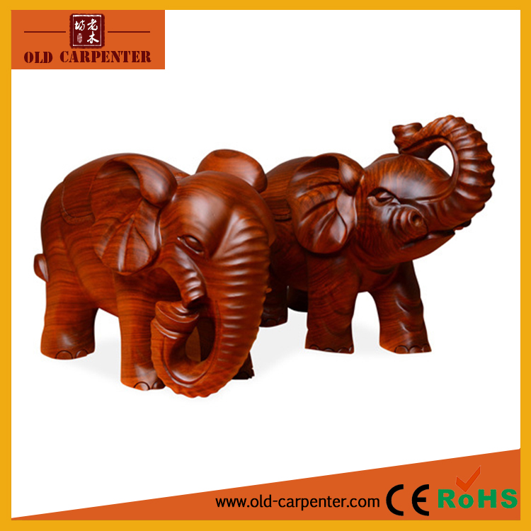 Money drawing a pair of elephants ornament home decoration wood carving