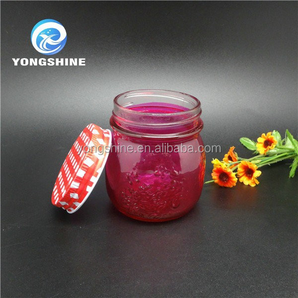 High quality empty food grade glass mason jar with metal lid for food storage jam honey