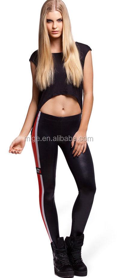 Hot Girls Sexy Black Faux Leather Leggings Mass Effect N7 Wet Look Leggings Dl3019 - Buy Mass ...