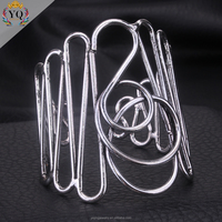BYQ-00054 new unique fashion silver plated adjustable alloy bangle bracelet
