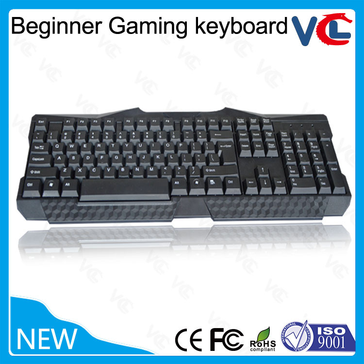 wired ergonomic game keyboard with standing