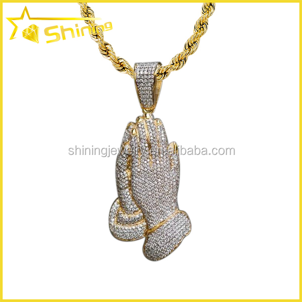 18k Gold Plated Hip Hop Necklace Praying Hand Fully CZ Pendant Rope Chain 30""