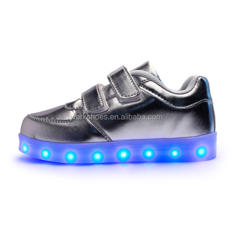 fashionable PU leather flashing led shoe lights new product for kids and adult