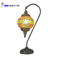 Modern home decoration small electroplating metal mosaic glass E14 table lighting