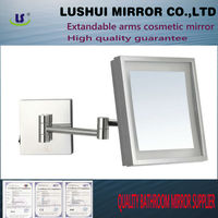 hotel 3X bathroom magnifying brighter white LED light solid oak mirror