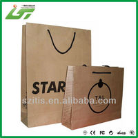 custom one side coated white paper material with stamping logo shopping bag, paper shopping bag, shopping paper bag