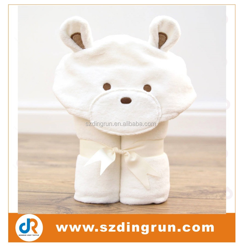 100% cotton/organic bamboo fabric teddy baby hooded towel with cheap price