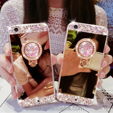 Mirror Electroplating Soft TPU Girls Bling diamond Metal Ring Stand Cases For iphone for samsung S5 S7 edge Note5