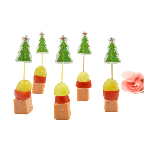 High quality Christmas flag wooden decorative toothpicks