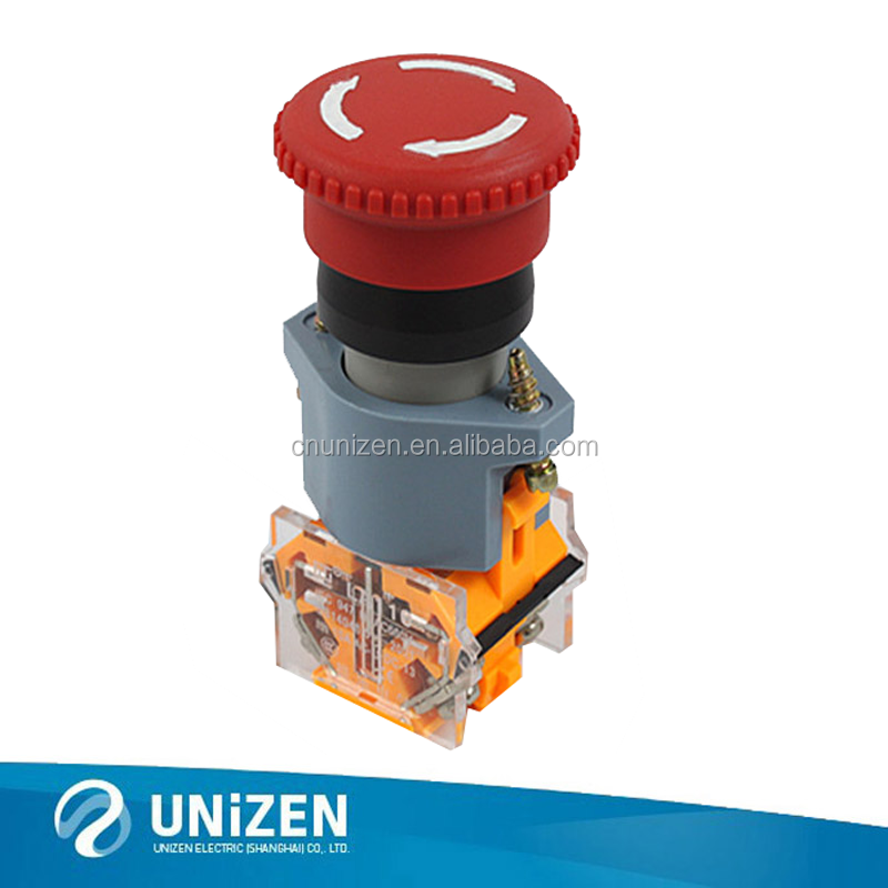 AC 600V 10A Red Mushroom Emergency Stop Push Button NO NC