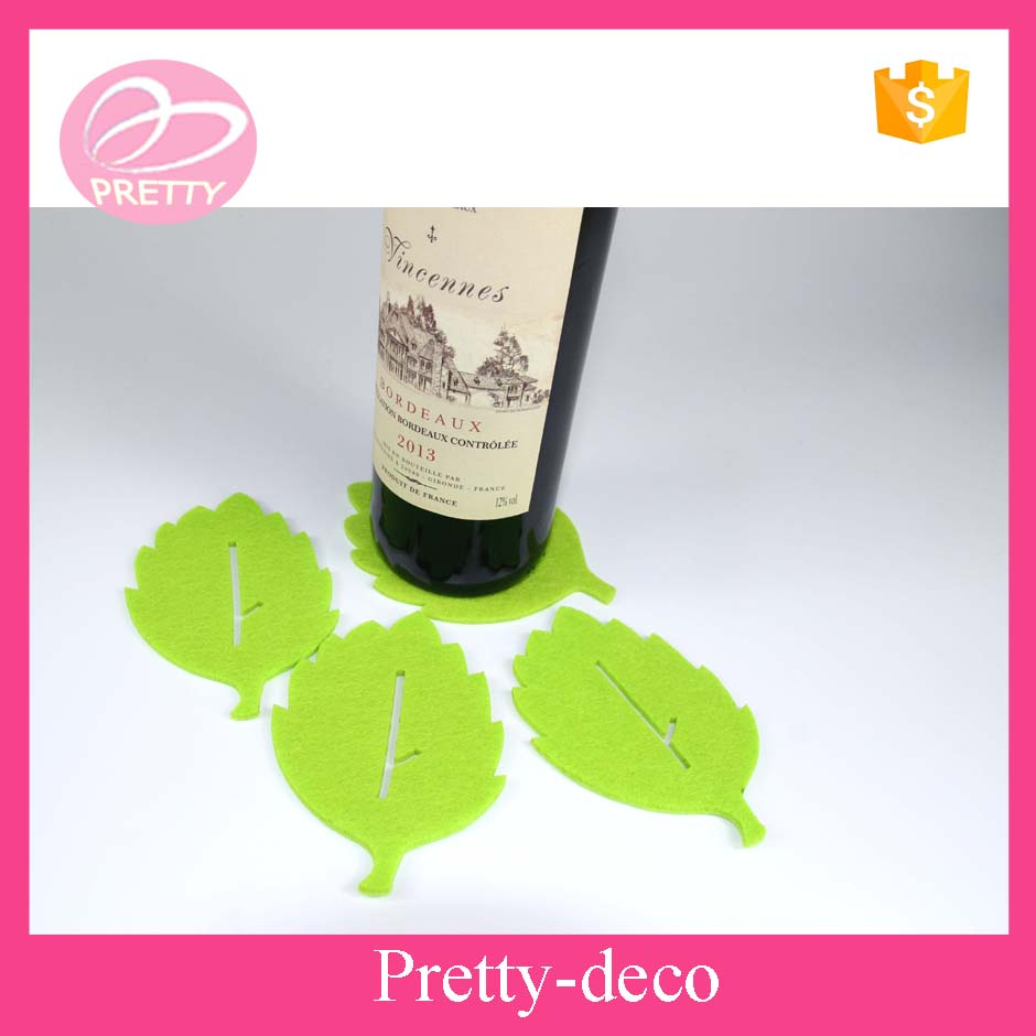Taizhou factory price green leaves felt coaster