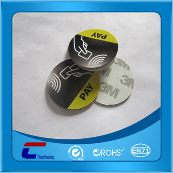 dia. 35mm printed NTAG 213 anti metal nfc stickers