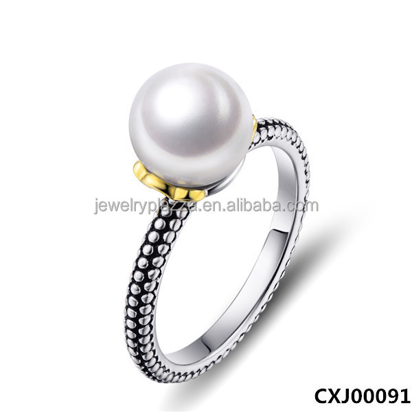 Classic Ancient 925 Sterling Silver Pearl midi ring