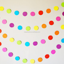 Rainbow coloured paper circle garland bridal and baby shower garland