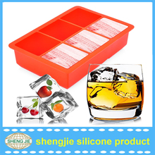 Stock square 6 cavity silicone large ice cube tray.6 holes ice cube mold