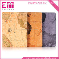 Map Pattern Painting Leather 9.7Inch Tab Case Stand Holder Case For iPad Pro