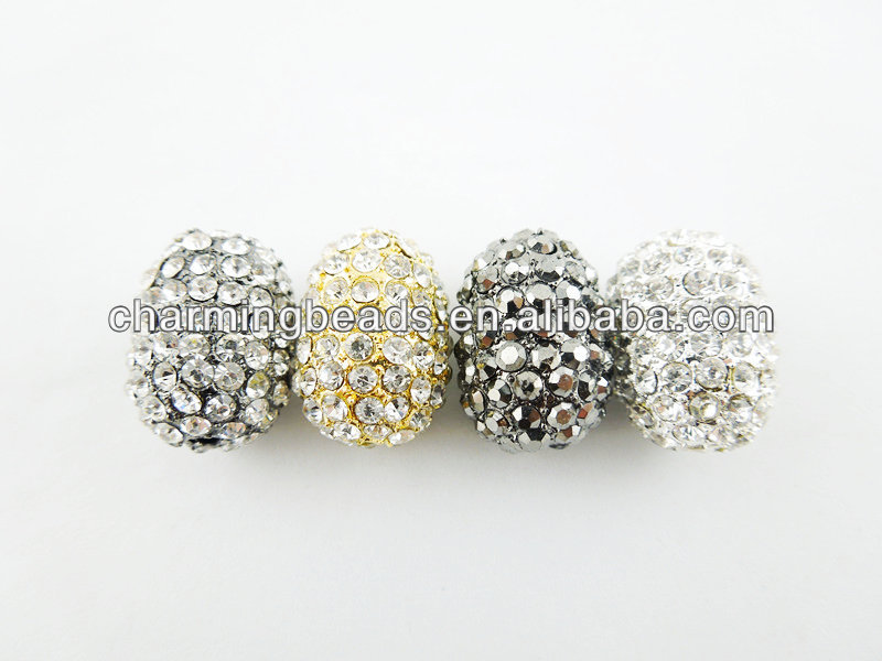 CH-EMB0025 Wholesale crystal beads,oval shape alloy metal beads jewelry