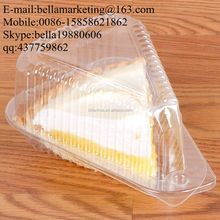 Medium Hinged OPS Plastic Pie Slice/Sandwich Container Triangle Shape Clamshell