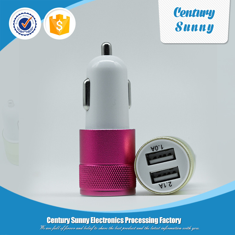 Factory direct supply dual usb small steel gun car charger for smart phone