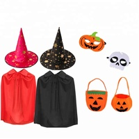 kids party fancy dress witch hat cloak pumpkin bag mask halloween party supplies
