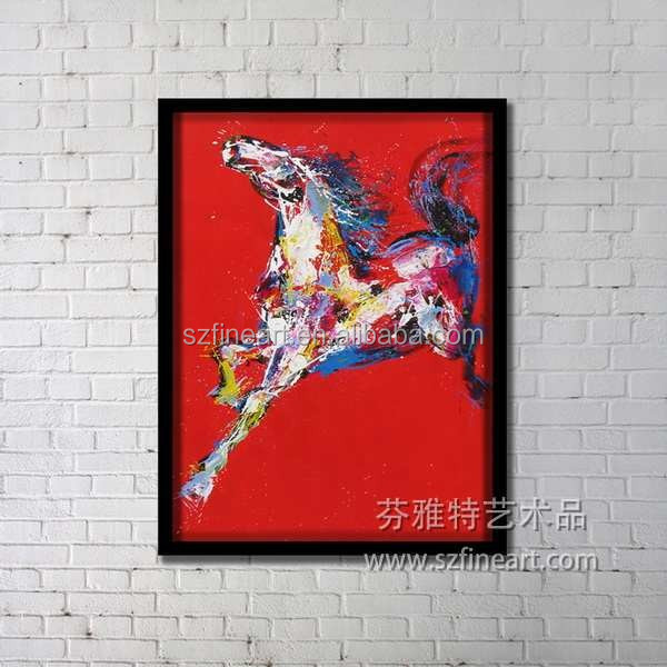 2016 Original Handmade Framed Horse Wall Painting Artwork