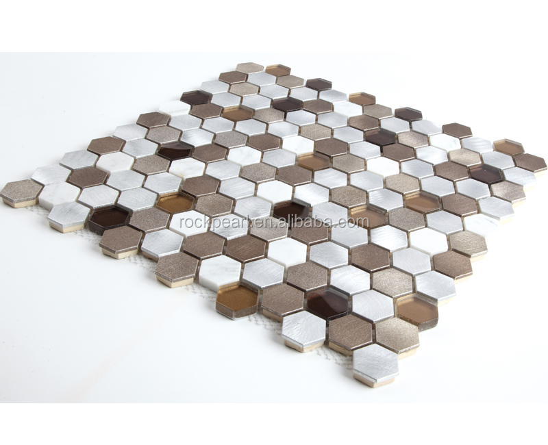 New colored hexagon metal mosaic tile mosaic tile kitchen backsplash