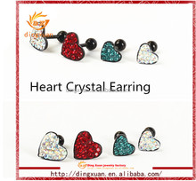 2014 New arraival fashion top sale crystal heart stud earrings back with the ball