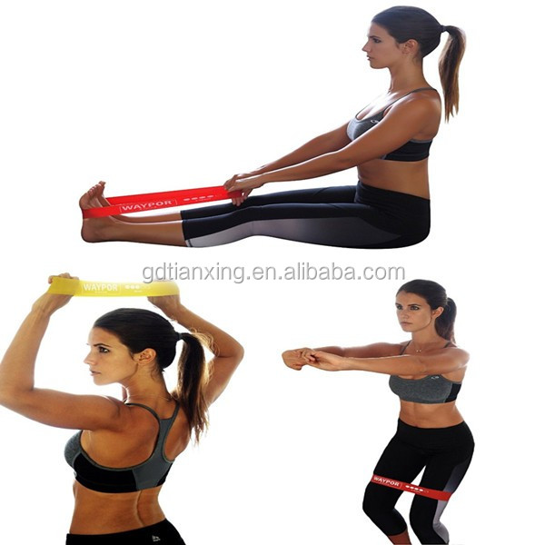 12 Inch set of 5 bands Physical therapy exercise resistance loop band with Mini Nylon Carry Bag