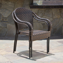 Set of 2 Outdoor Stackable Wicker Dining Armchairs