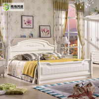 Foshan Modern Home Furnishing White Painted Double Wooden Box Bed Designs