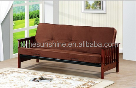 Popular Wood Arm Metal Sofa cum Bed / Futon Bed