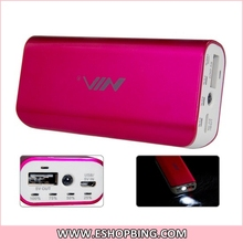 5-in-1 Multifunctional 2800mAh Mobile Battery with FM Radio MP3 TF Card Reader & Flashlight