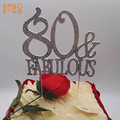 High Quality 80 & Fabulous rhinestone cake topper wholesale