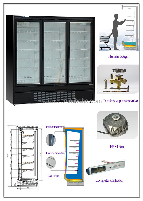 Built-in upright display freezer for frozen fish or meat