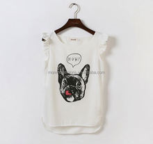 monroo Korean lady fashion dog printed lovely lady's chiffon top