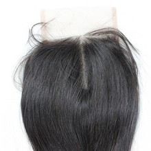 Brazilian and peruvian middle parting cheap human bohemian hair lace closure