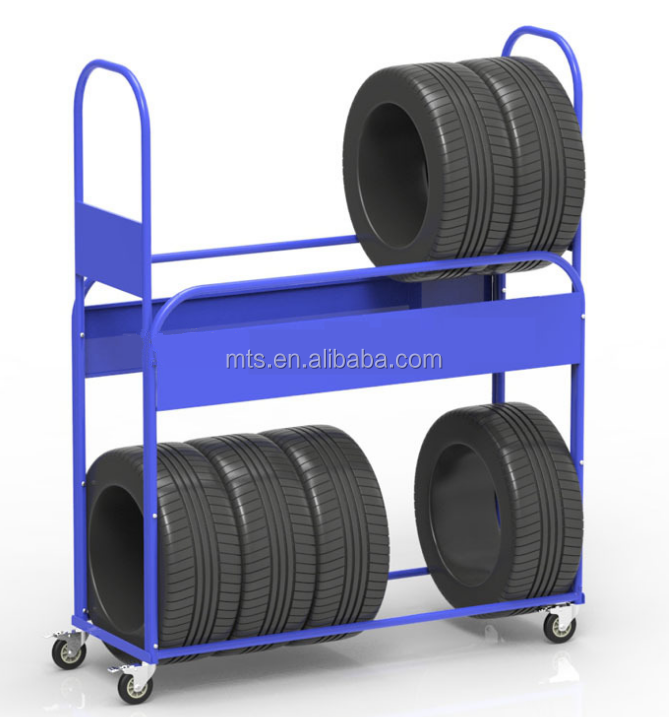 Heavy duty metal display stand tyre storage shelf rack