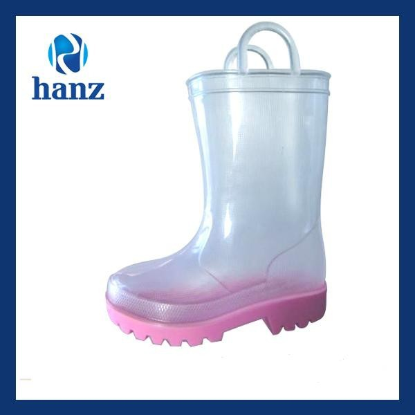 kids transparent clear childrens solid color pvc rain boots