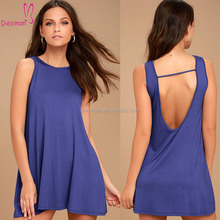 Rounded Neck Royal Blue Low Back Dress Swing Sexy Women Sundress