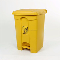 Biohazard bin 45litre rectangle HDPE yellow medical foot pedal plastic dustbin