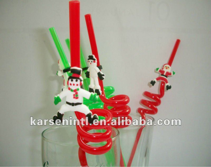 Promotional Chritsmas gift Snow Man figurine drinking straw