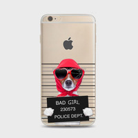 Cute cell phones cases creative naughty funny BAD GIRL puppy dog in jail Soft TPU customized phone cases For iPhone 4 4S 5C