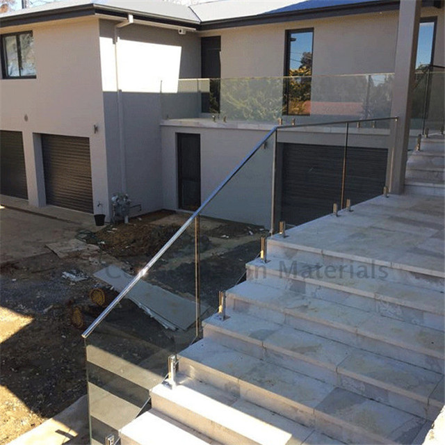 Staircase railing stainless steel outdoor with glass railing holder