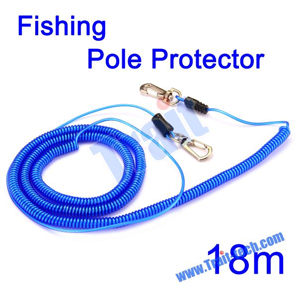 Durable 18M Extendable Elastic Fishing Missed Rope Fish Pole Protector Rope with steel Fishing Tackle