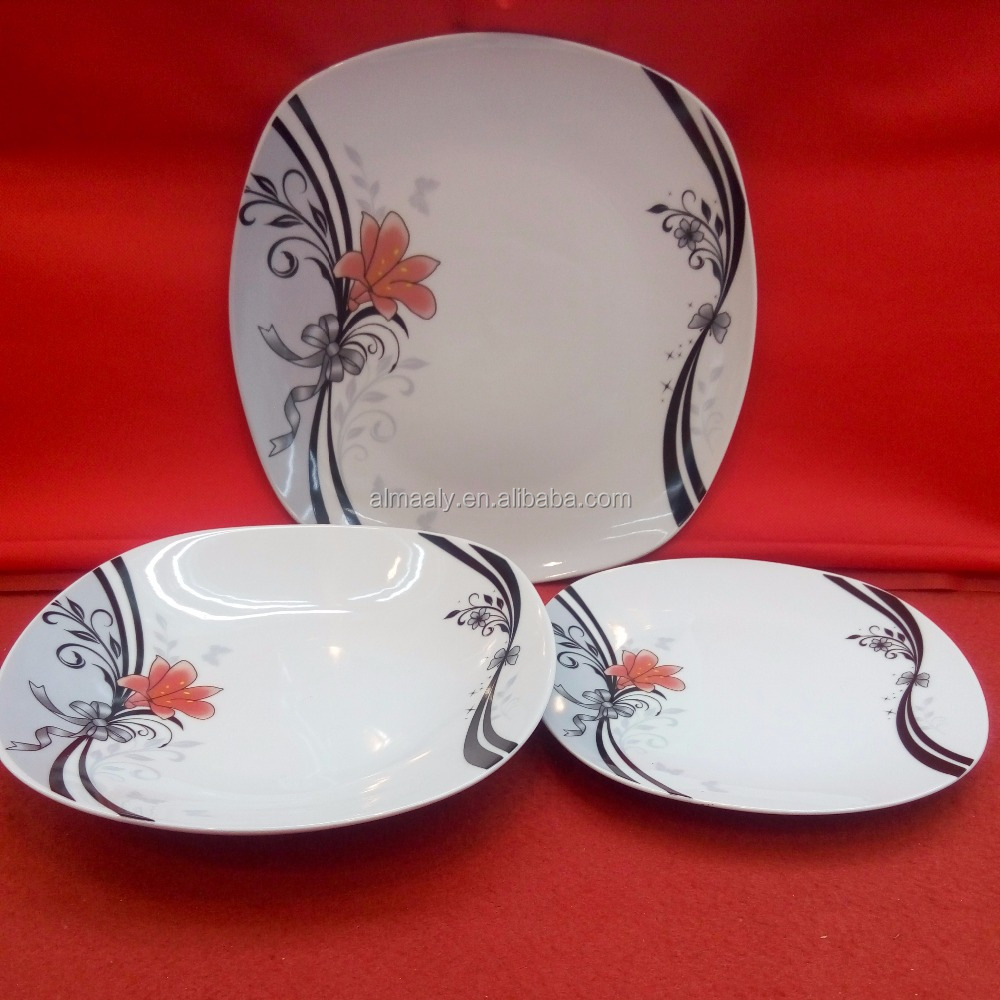 black decal cheap wholesale ceramic porcelain dinner sets foodware