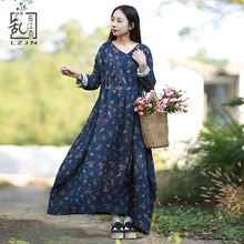 Vintage Women Long Sleeve Floral Dresses Pleated Cotton Robe Drawstring Waist 2018 Spring Dress